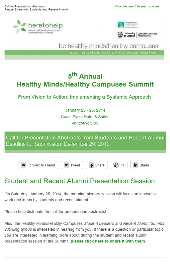 Call for Presentation Abstracts
