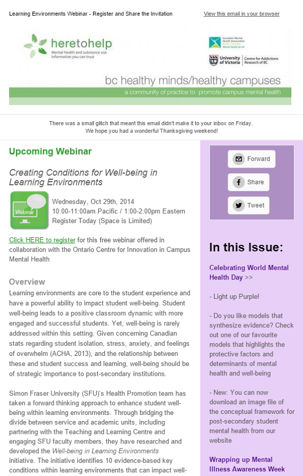 Upcoming Webinar and World Mental Health Day
