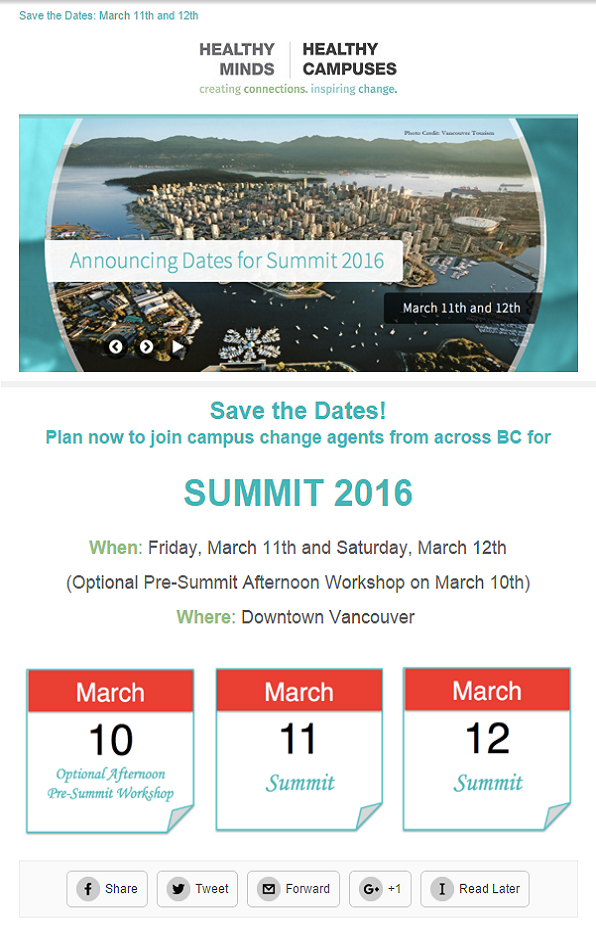 Summit 2016: Save the Dates