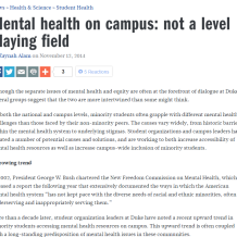 mental health on campus not a level playing field