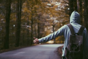 student hitch hiking