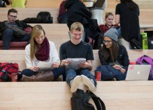 Students studying around the University of Calgary.