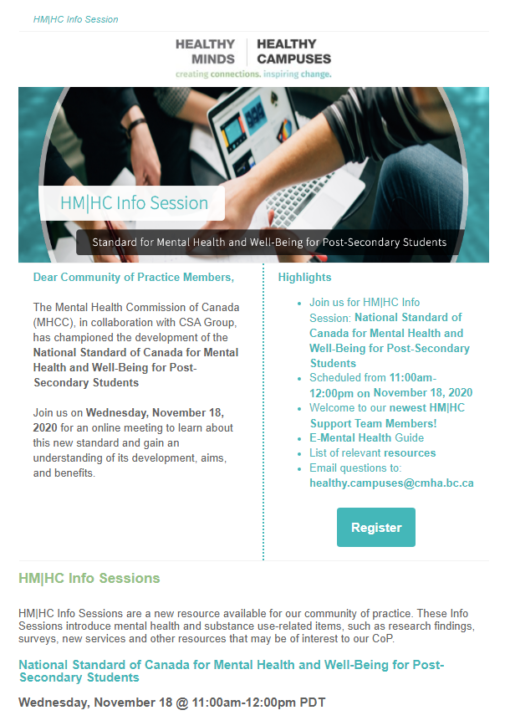 HM|HC Info Session: Standard for Mental Health & Well-Being for Post-Secondary Students