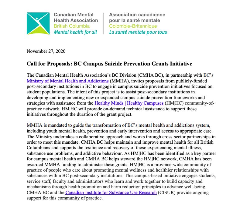 Campus Suicide Prevention Grants