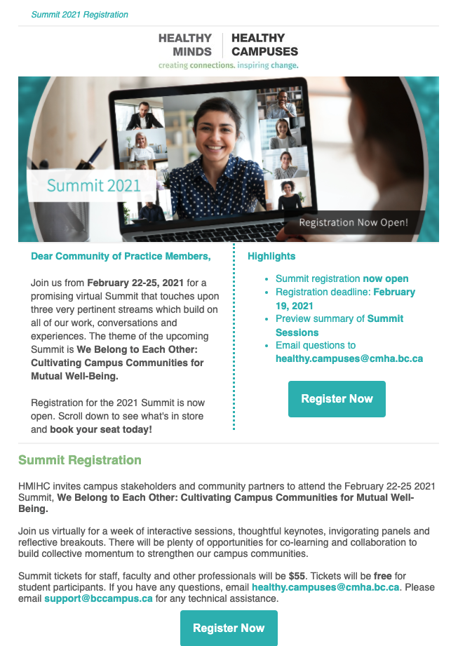 Summit 2021: Reminder to Register & Review Program