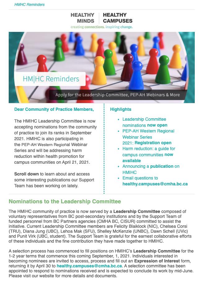 REMINDER: Join HM HC's Leadership Committee, Upcoming PEP-AH Webinar & More